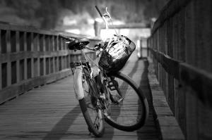 bike resting at canoe wharf